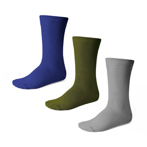 Boys' crew socks in royal blue, olive and gray