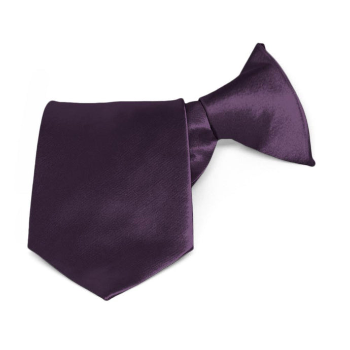 Boys' Eggplant Purple Solid Color Clip-On Tie