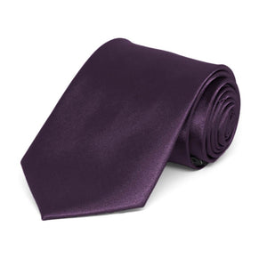 Boys' Eggplant Purple Solid Color Necktie