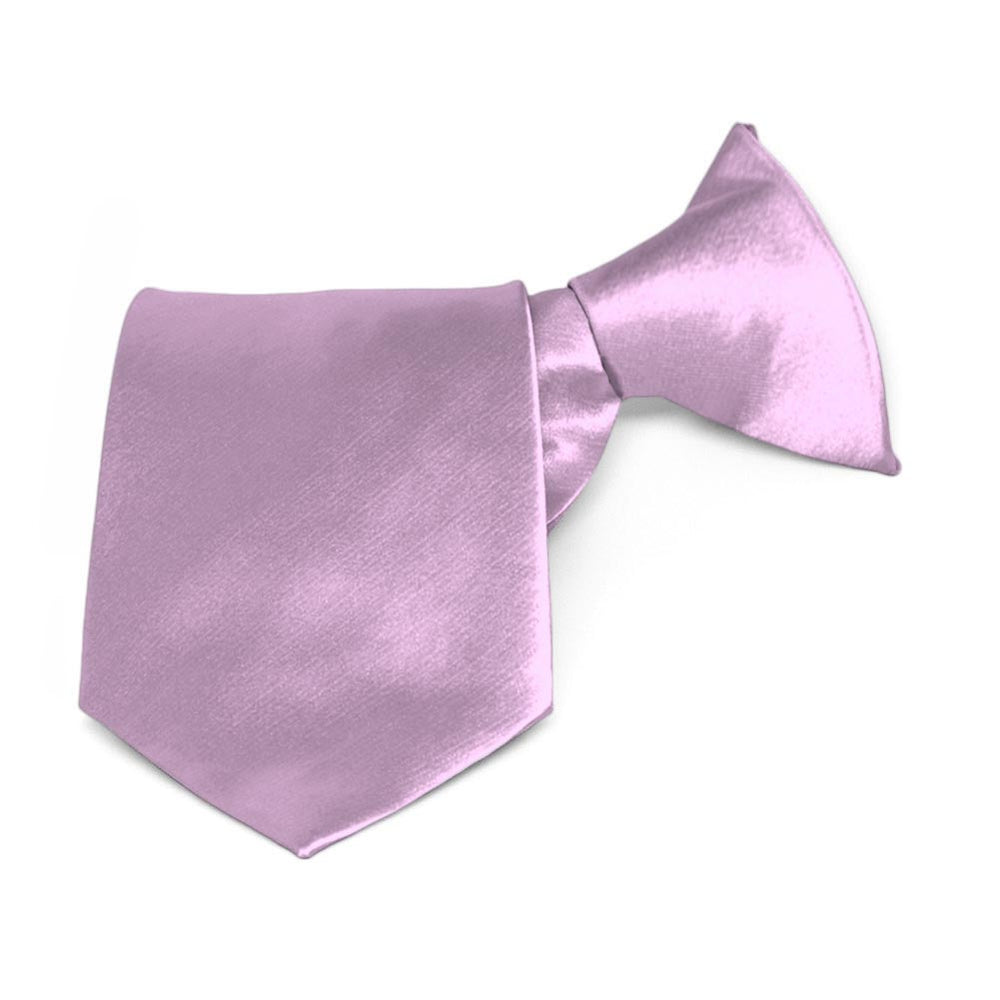 Boys' English Lavender Solid Color Clip-On Tie, 8