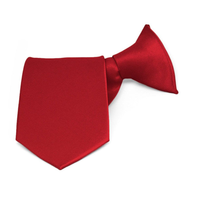 Boys' Festive Red Solid Color Clip-On Tie, 14