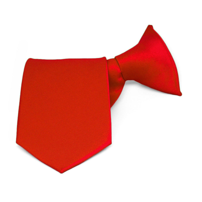 Boys' Fire Engine Red Solid Color Clip-On Tie