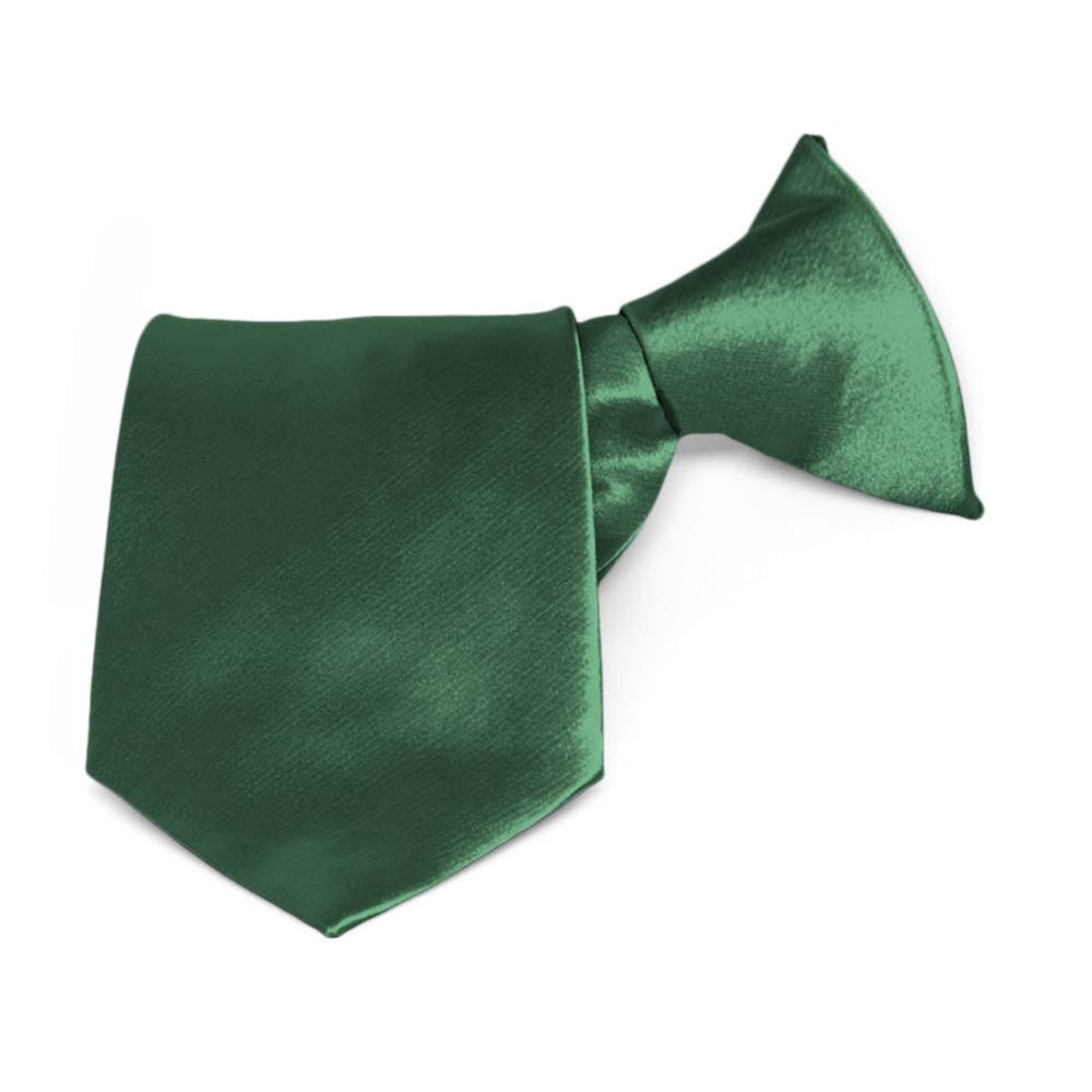 Boys' Forest Green Solid Color Clip-On Tie