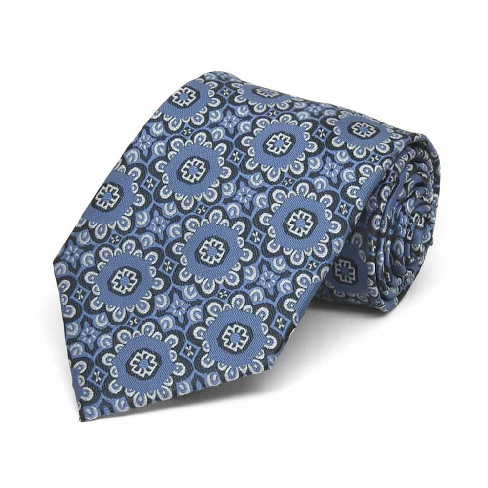 Boys' French Blue Emma Floral Pattern Necktie