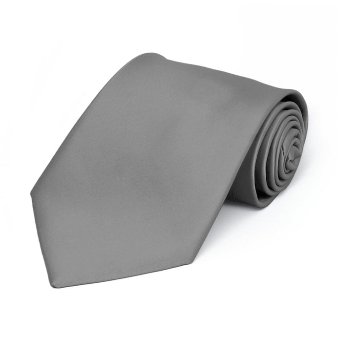 Boys' Gray Premium Solid Color Tie