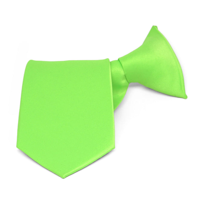 Boys' Hot Lime Green Solid Color Clip-On Tie