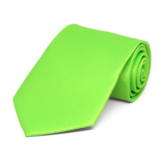 Boys' Hot Lime Green Solid Color Necktie