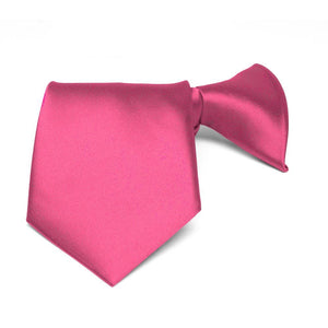Boys' Hot Pink Solid Color Clip-On Tie