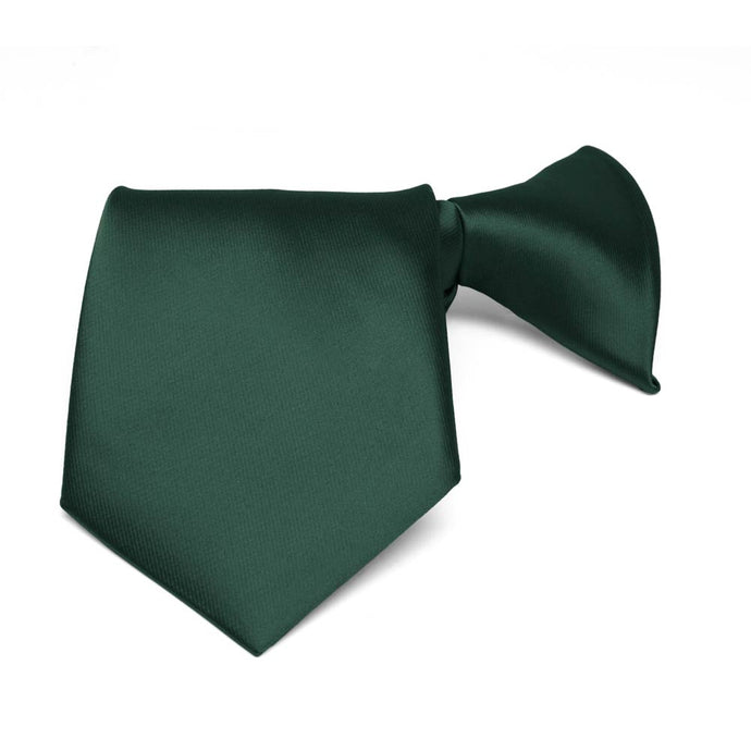 Boys' Hunter Green Solid Color Clip-On Tie