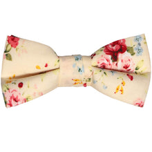 Load image into Gallery viewer, Boys ivory and pink floral bow tie