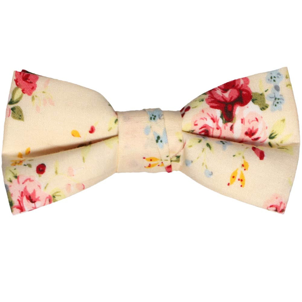Boys ivory and pink floral bow tie