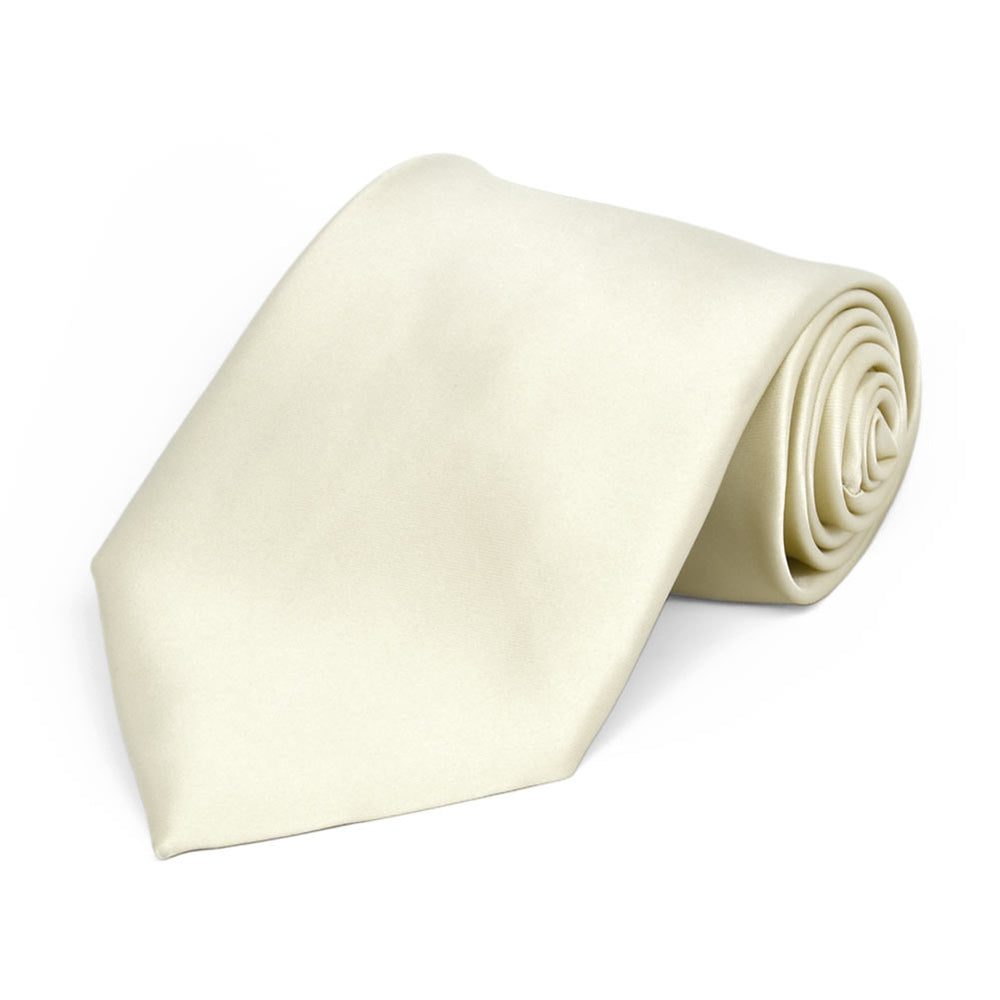 Boys' Ivory Premium Solid Color Tie