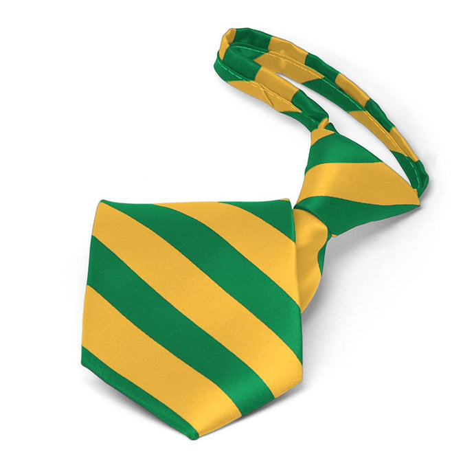 Boys' Kelly Green and Golden Yellow Striped Zipper Tie