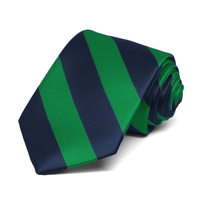 Boys' Kelly Green and Navy Blue Striped Tie