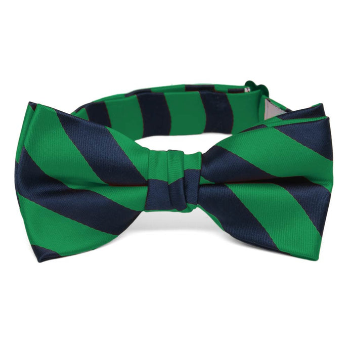 Boys' Kelly Green and Navy Blue Striped Bow Tie