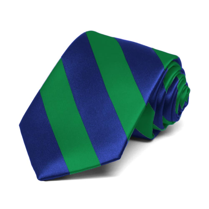 Boys' Kelly Green and Royal Blue Striped Tie