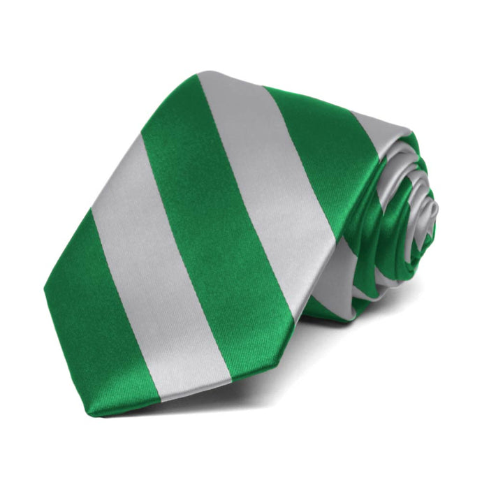 Boys' Kelly Green and Silver Striped Tie