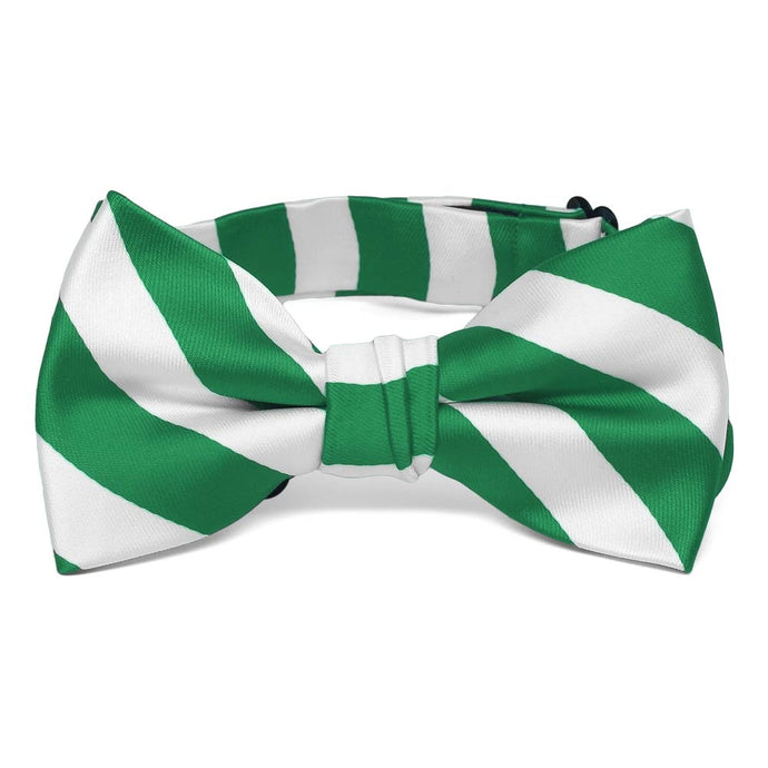Boys' Kelly Green and White Striped Bow Tie