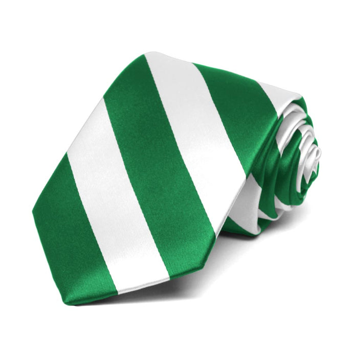 Boys' Kelly Green and White Striped Tie