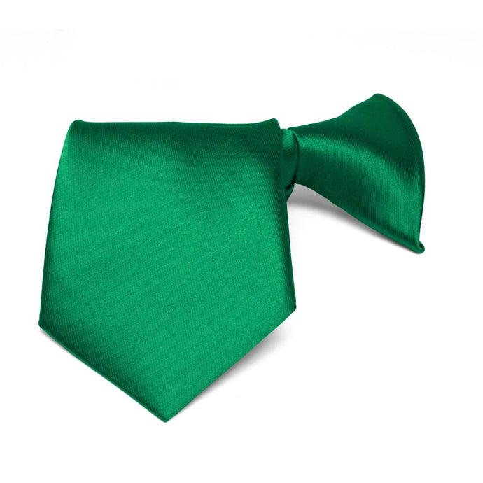 Boys' Kelly Green Solid Color Clip-On Tie