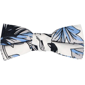 Boys blue, gray and white Hawaiian pattern bow tie