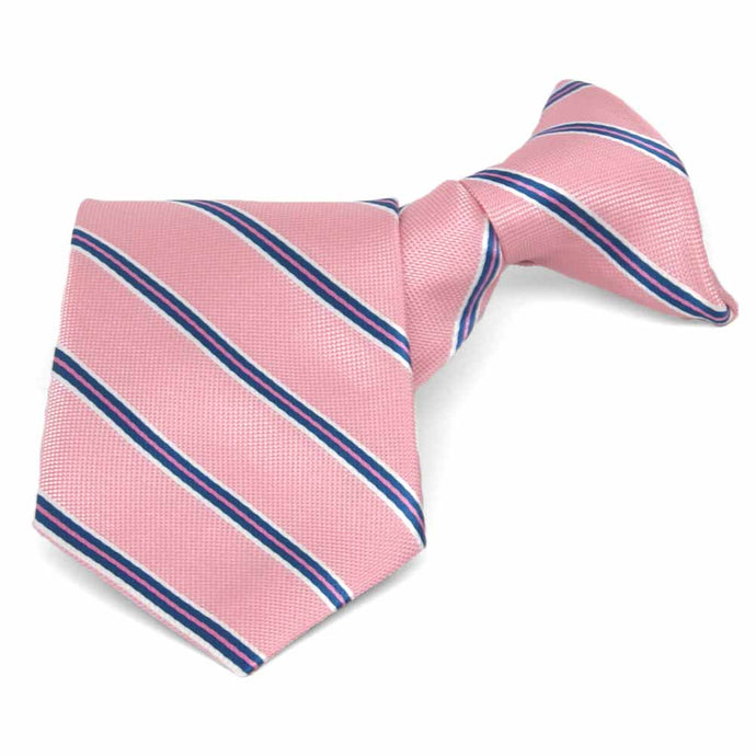 Boys' Vintage Pink Leroy Stripe Clip-On Tie, 11