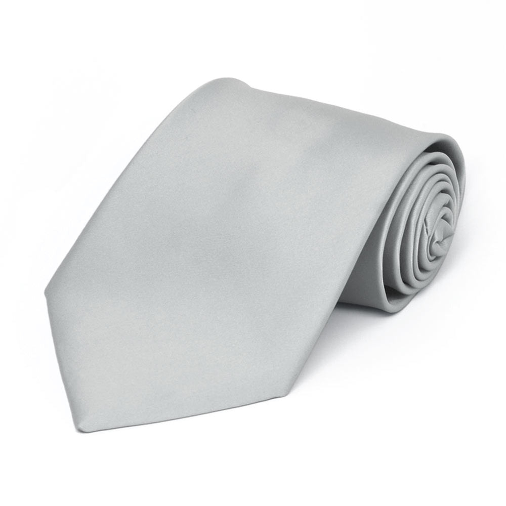 Boys' Light Silver Premium Solid Color Tie