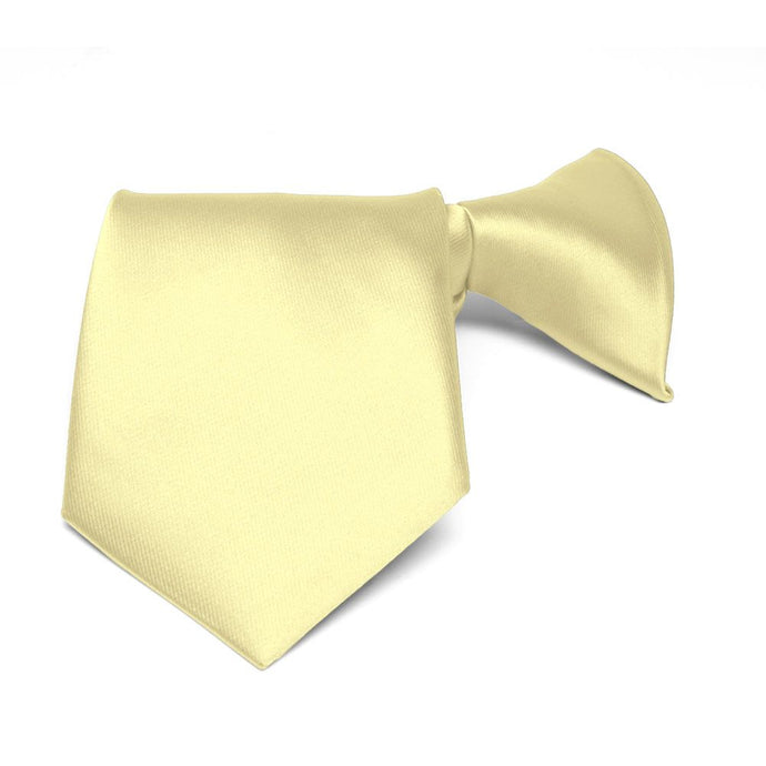 Boys' Light Yellow Solid Color Clip-On Tie