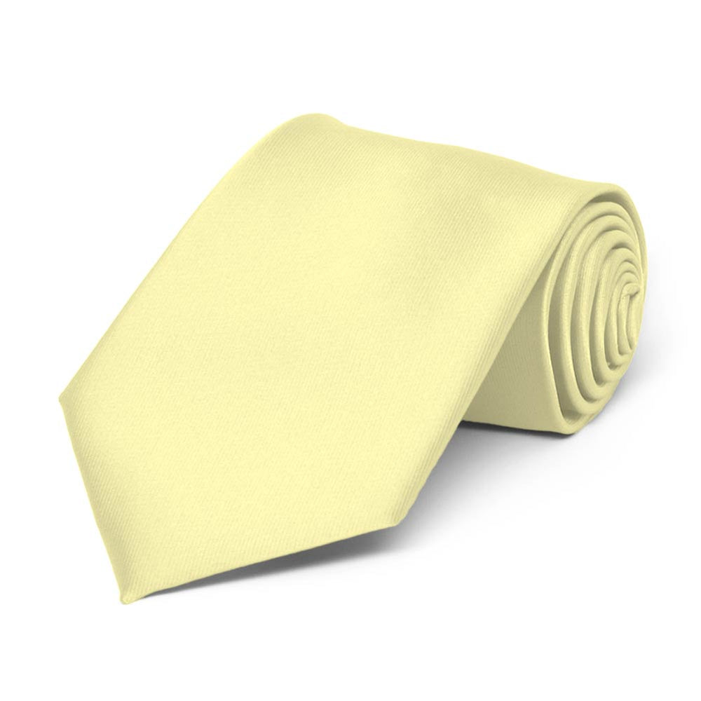 Boys' Light Yellow Solid Color Necktie