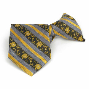 Boys' Marigold Yellow Anna Floral Stripe Clip-On Tie