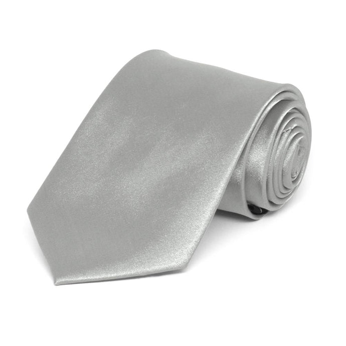 Boys' Mercury Silver Solid Color Necktie