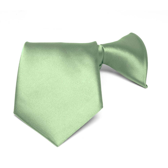 Boys' Mint Green Solid Color Clip-On Tie