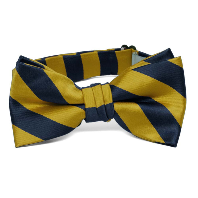 Boys' Navy Blue and Gold Striped Bow Tie