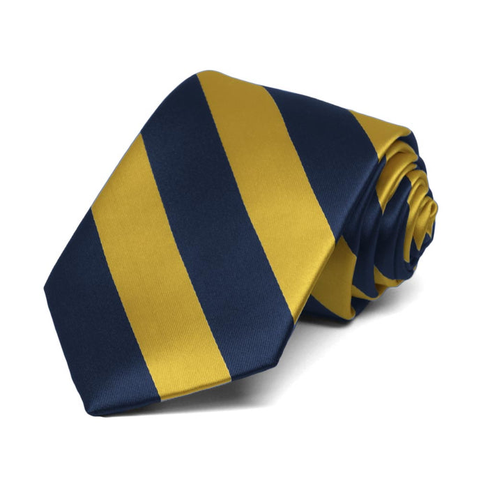 Boys' Navy Blue and Gold Striped Tie