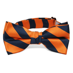 Boys' Navy Blue and Orange Striped Bow Tie