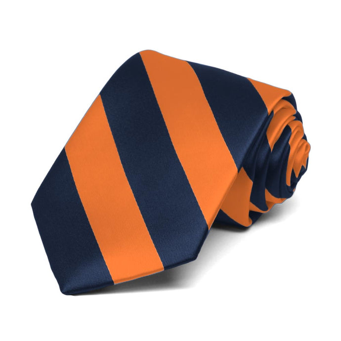 Boys' Navy Blue and Orange Striped Tie