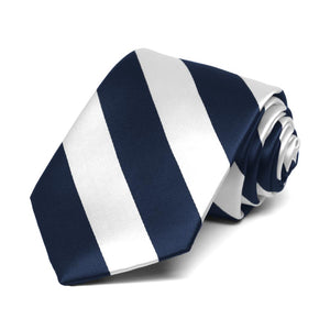 Boys' Navy Blue and White Striped Tie