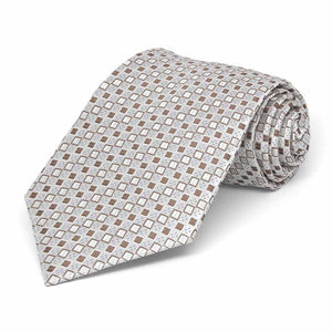 Boys' Oatmeal Brown Marie Square Pattern Necktie