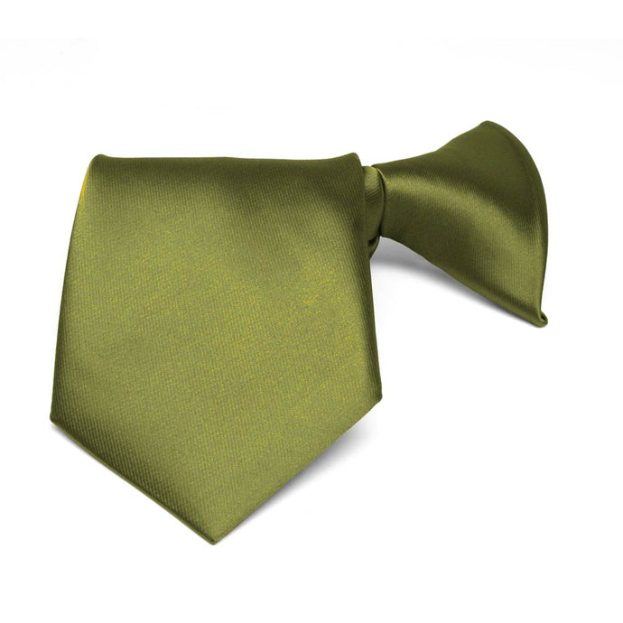Boys' Olive Green Solid Color Clip-On Tie
