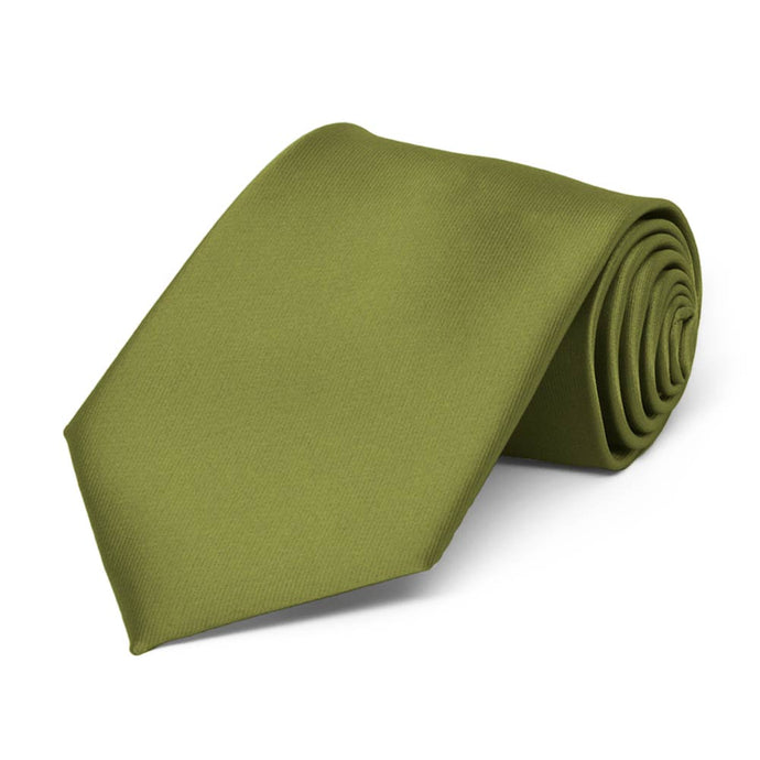 Boys' Olive Green Solid Color Necktie