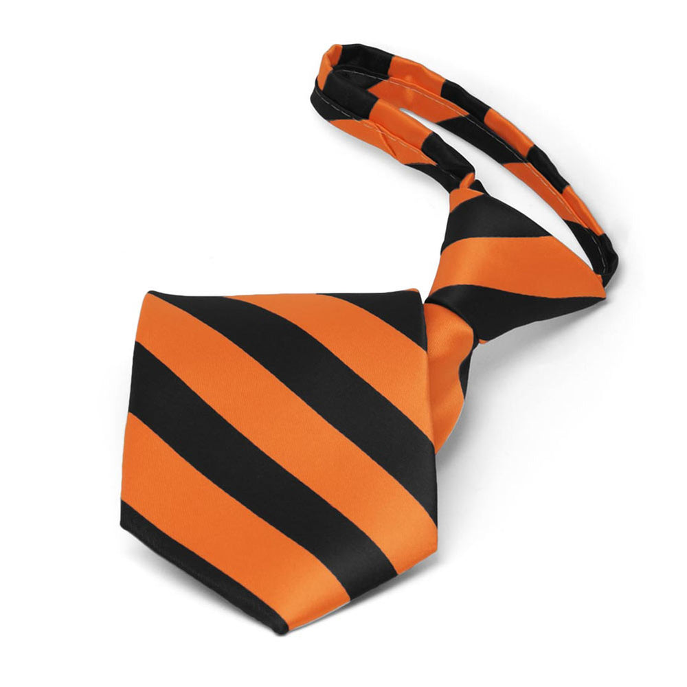 Boys' Orange and Black Striped Zipper Tie