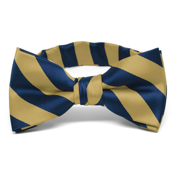 Boys' Light Gold and Twilight Blue Striped Bow Tie