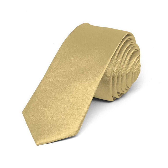 Boys' Pale Gold Skinny Solid Color Necktie, 2
