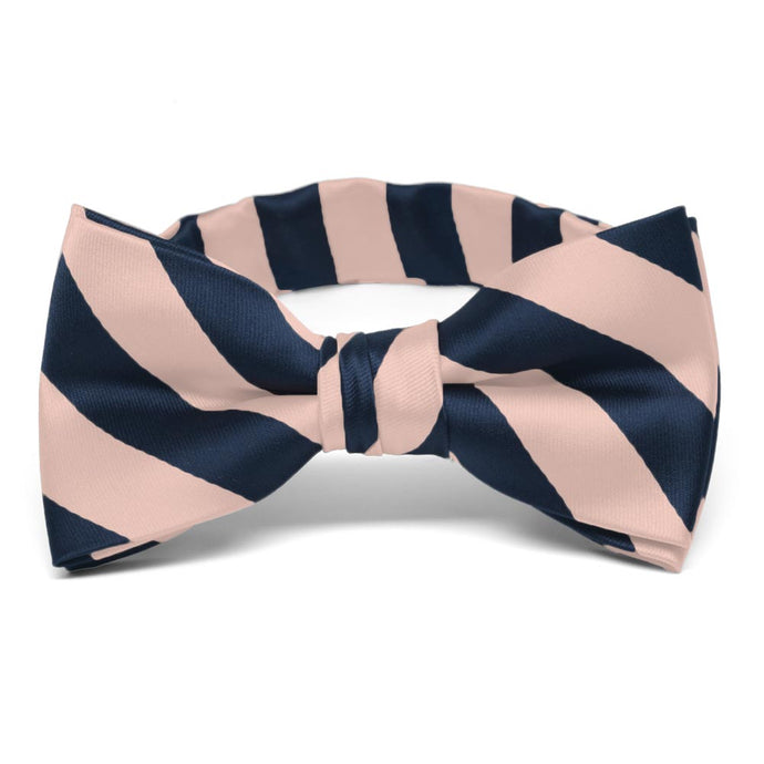Boys' Petal and Navy Blue Striped Bow Tie