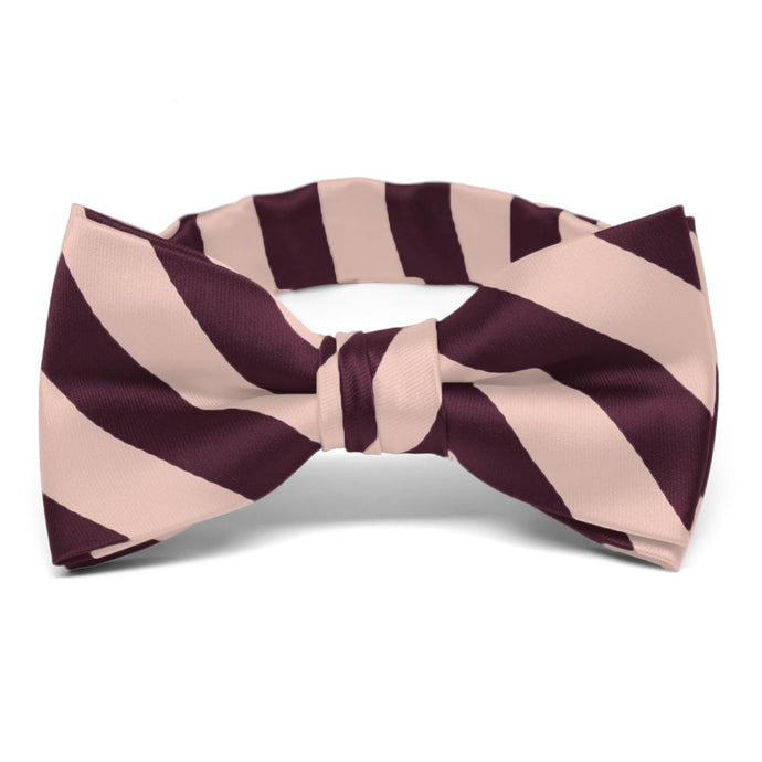 Boys' Petal and Wine Striped Bow Tie