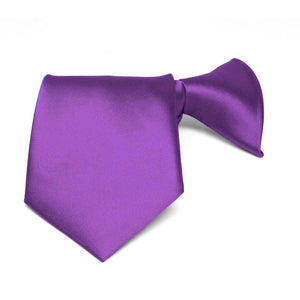 Boys' Plum Violet Solid Color Clip-On Tie