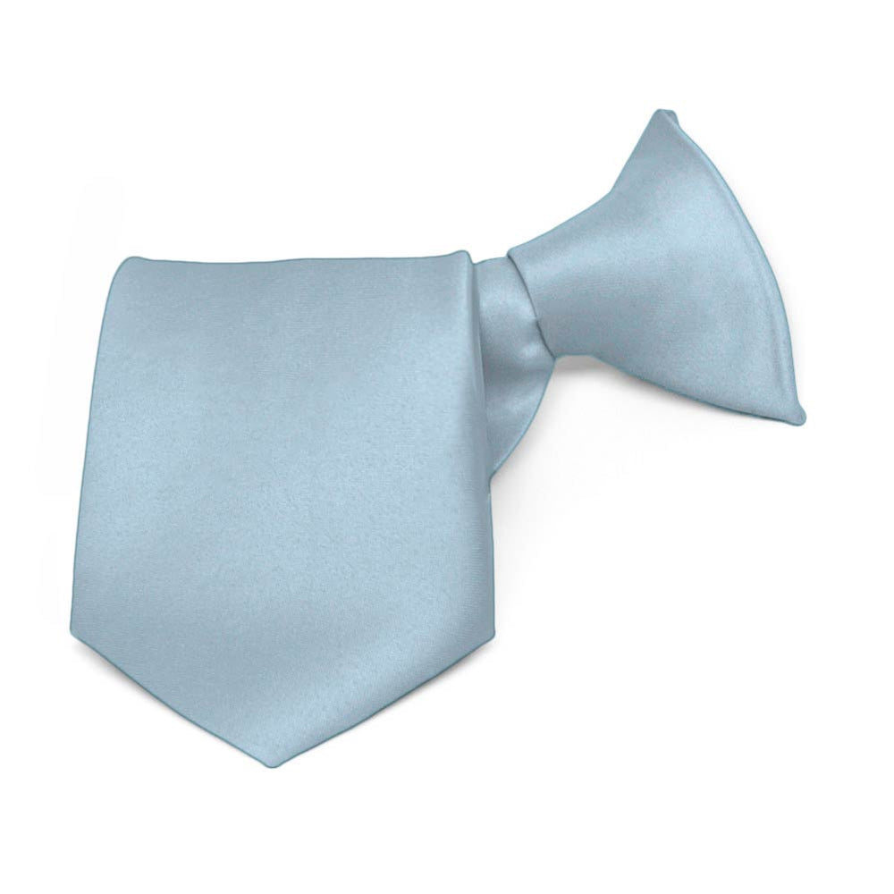 Boys' Sky Blue Solid Color Clip-On Tie, 8