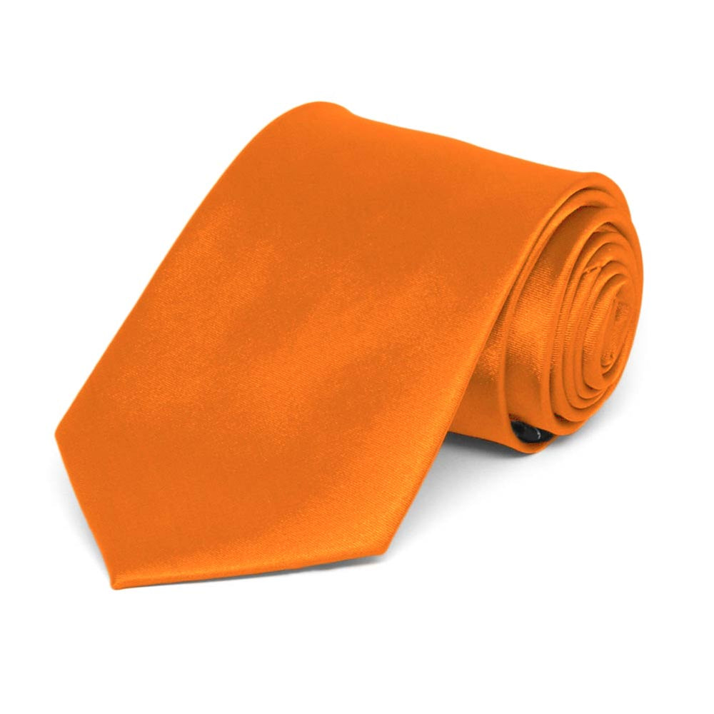 Boys' Pumpkin Orange Solid Color Necktie