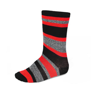 Boys' red, gray and black striped socks