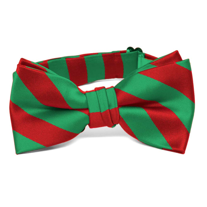 Boys' Red and Green Striped Bow Tie